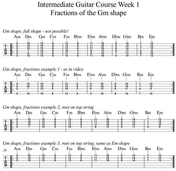 Intermediate Guitar Course Week 1 Fractions of Gm
