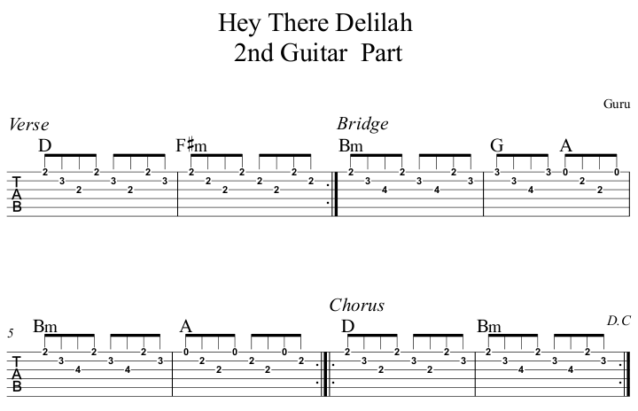 Hey There Delilah 2nd Guitar Part
