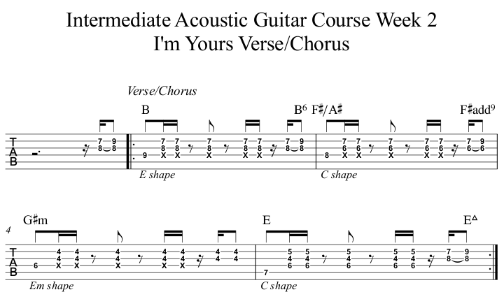 Intermediate Acoustic Guitar Course Week 2 I'm Yours Verse Chorus