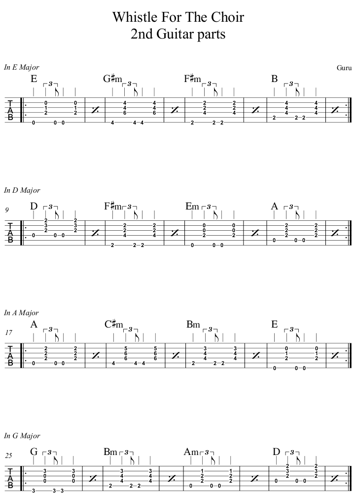Whistle For The Choir 2nd Guitar part
