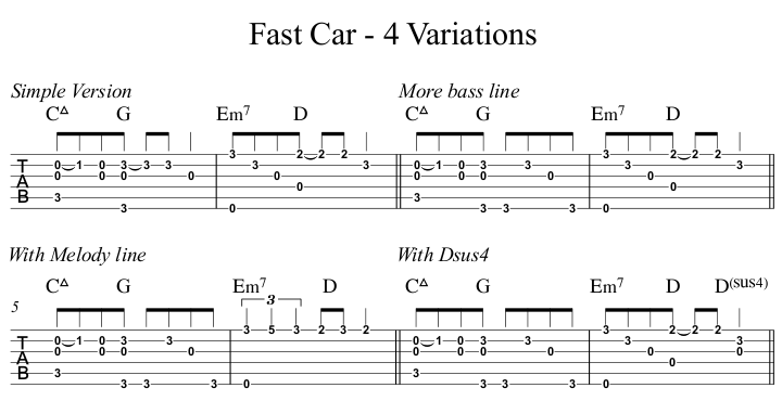 Fast Car - 4 Variations