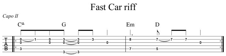 Fast Car riff
