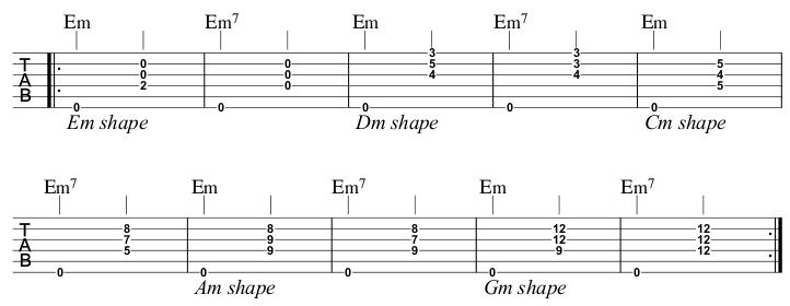 Em to Em7 Open E string